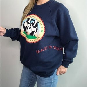Tops - Vintage Made in Wisconsin Cow Dairyland Sweatshirt